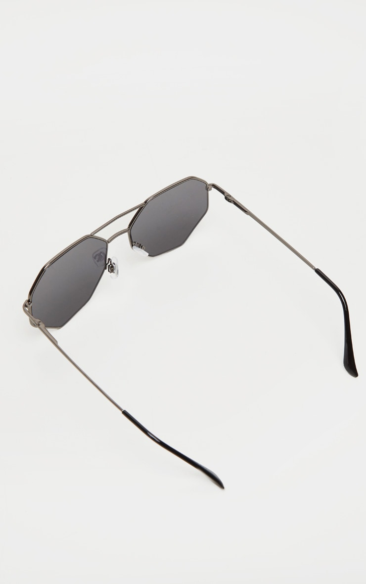 Black Hexagon Double Bar Sunglasses 4