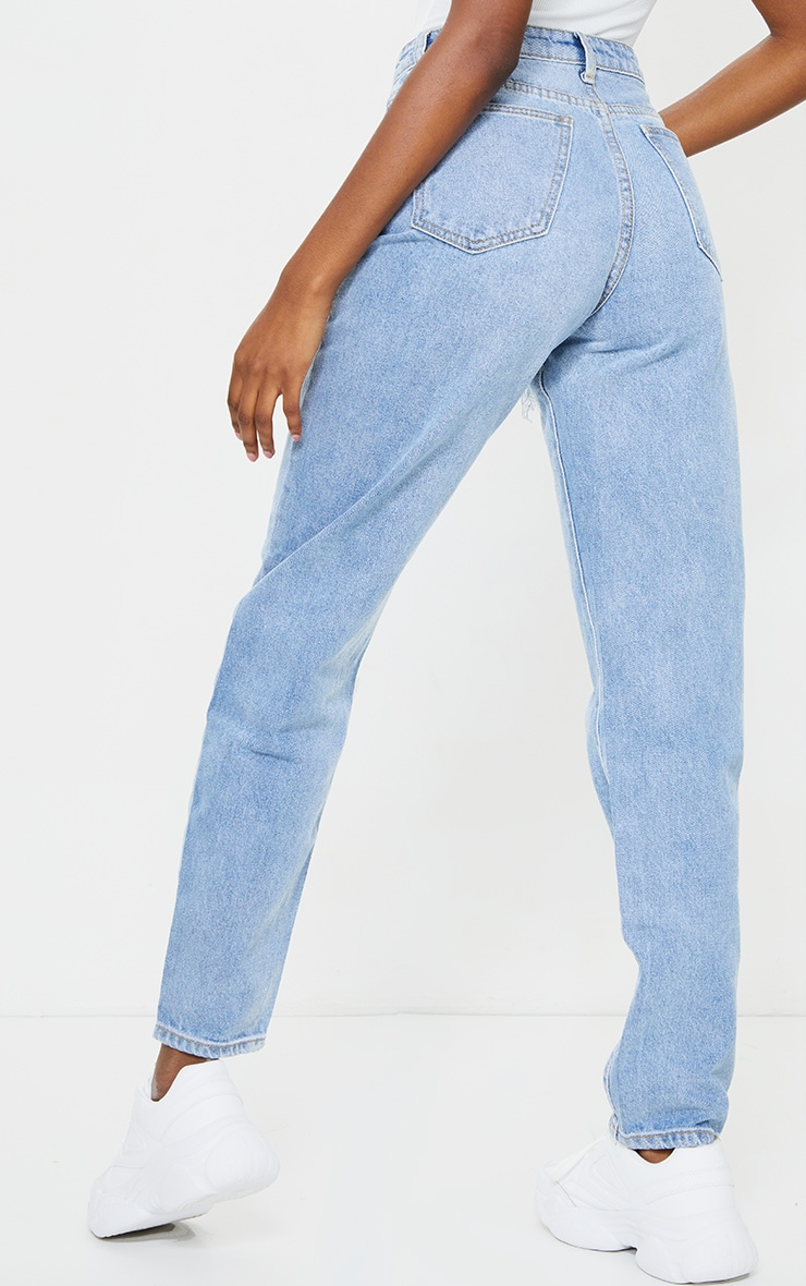 PRETTYLITTLETHING Tall Light Blue Wash Thigh Ripped Mom Jeans 3