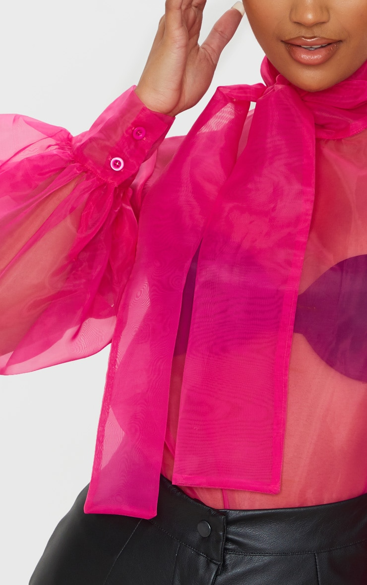 Hot Pink Sheer Organza Pussy Bow Puff Sleeve Blouse 5