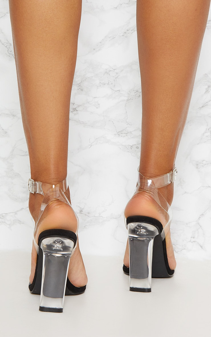Black Clear Flat Heel Strappy Sandal 3