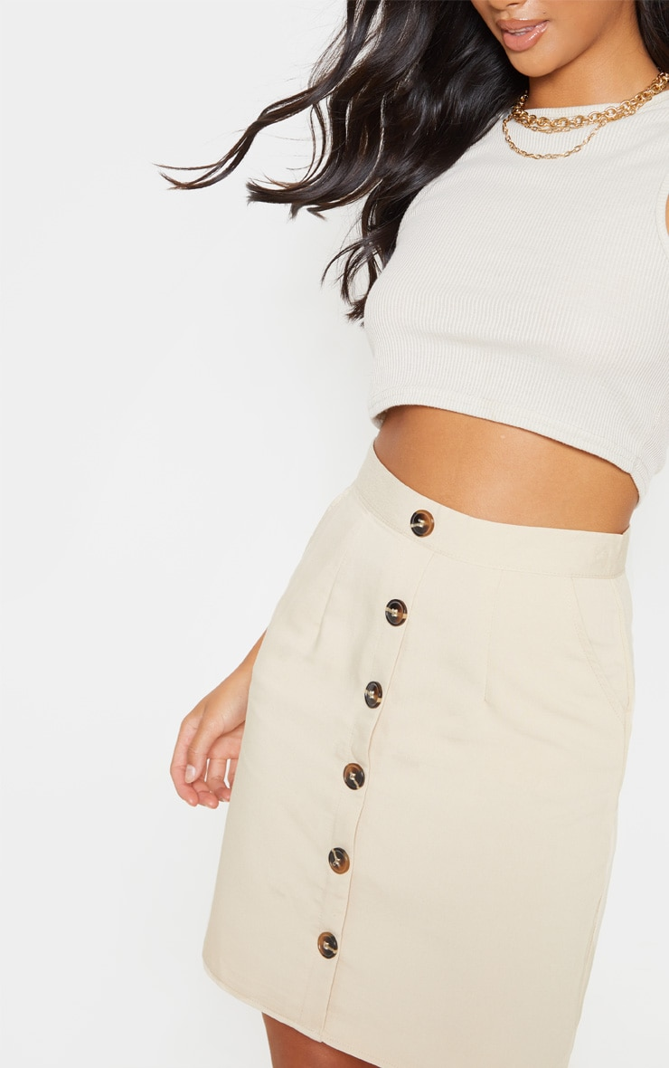 Petite Stone Button Front Aline Skirt 5