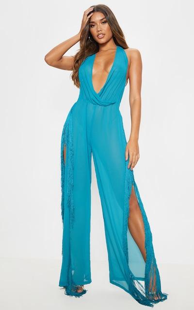 ab64fbe709 ... Beach Dress. £18.00. Teal Cowl Neck Fringe Jumpsuit