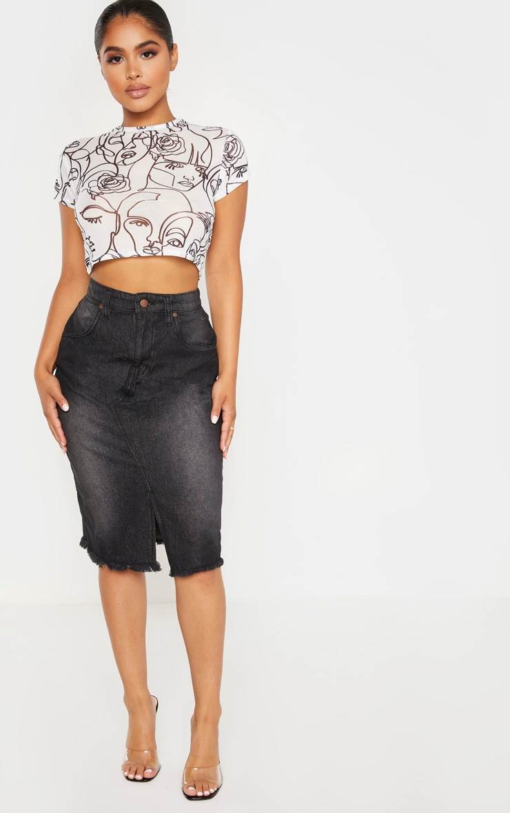 Petite Washed Black Midi Denim Skirt 1