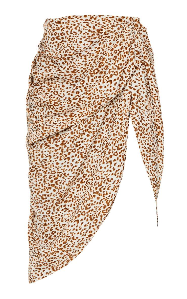Stone Leopard Print Ruched Side Midi Skirt 5
