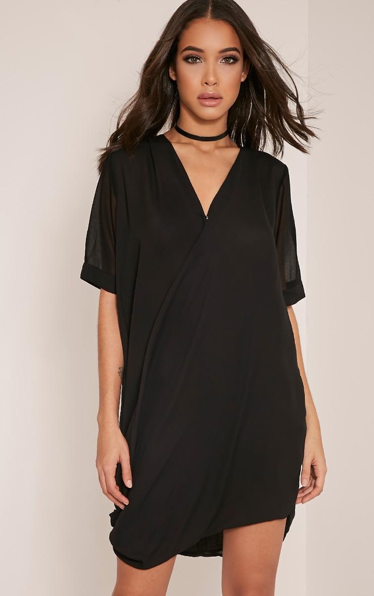 Jenia Black Wrap Front Chiffon Dress 7