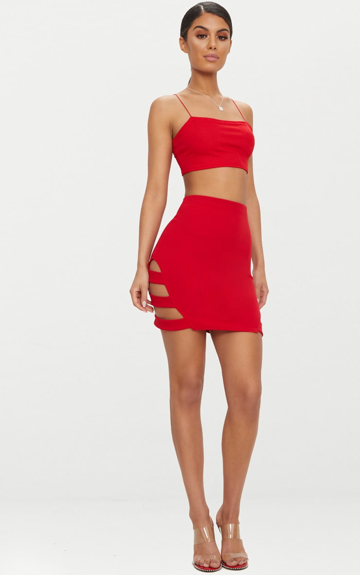 Red Crepe Ladder Mini Skirt 5