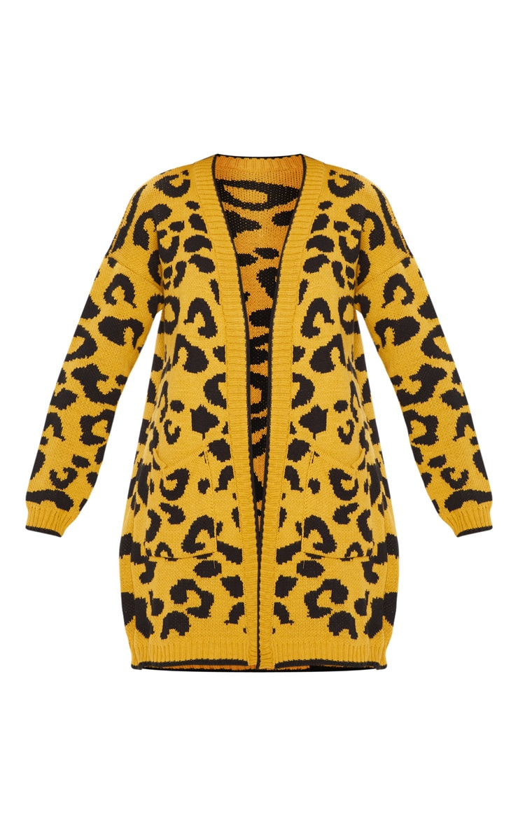 Mustard Knitted Leopard Print Longline Cardigan 3
