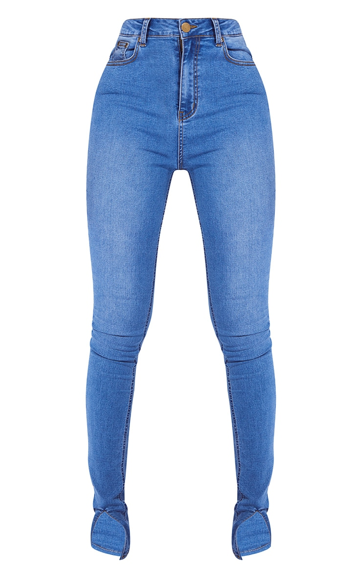 Tall Mid Blue Split Front Skinny Jeans 5