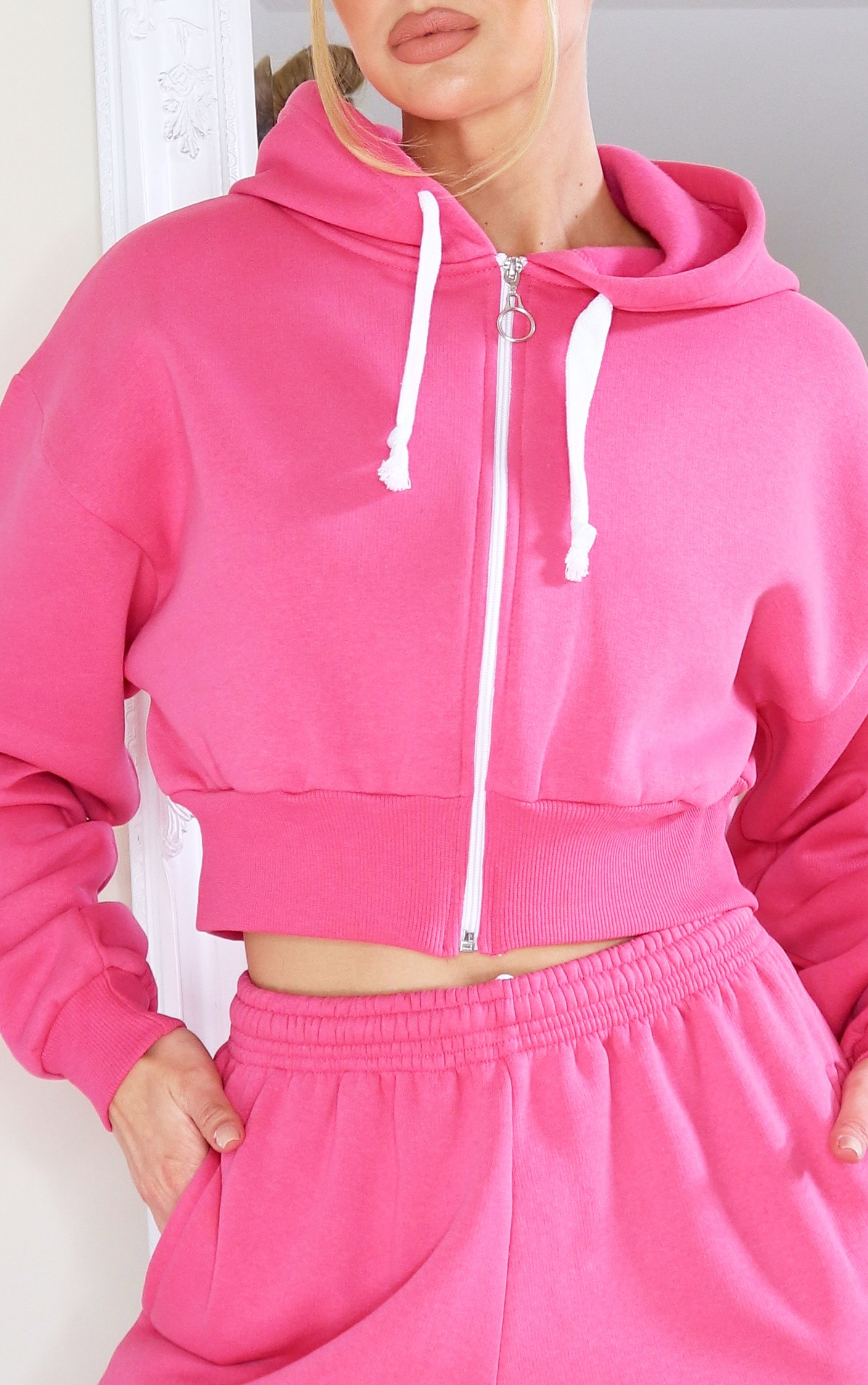Hot Pink Thick Zip Up Drawstring Cropped Hoodie 4