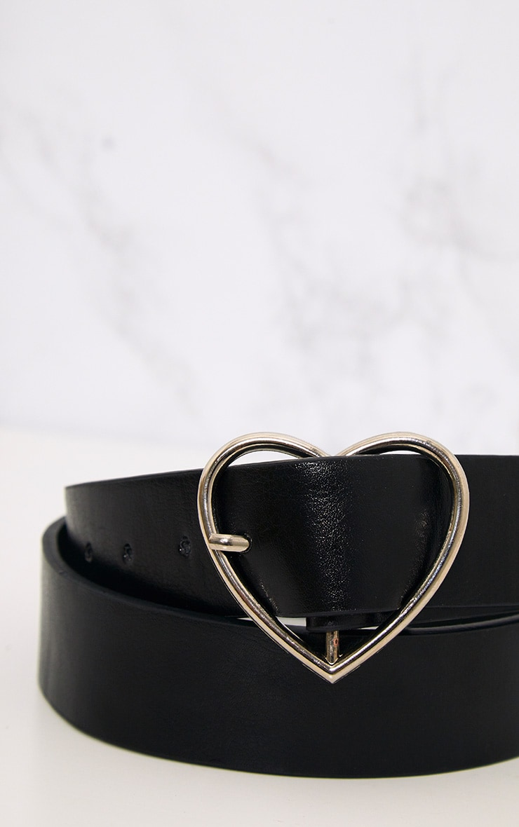 Black Basic Heart Buckle Waist Belt 5