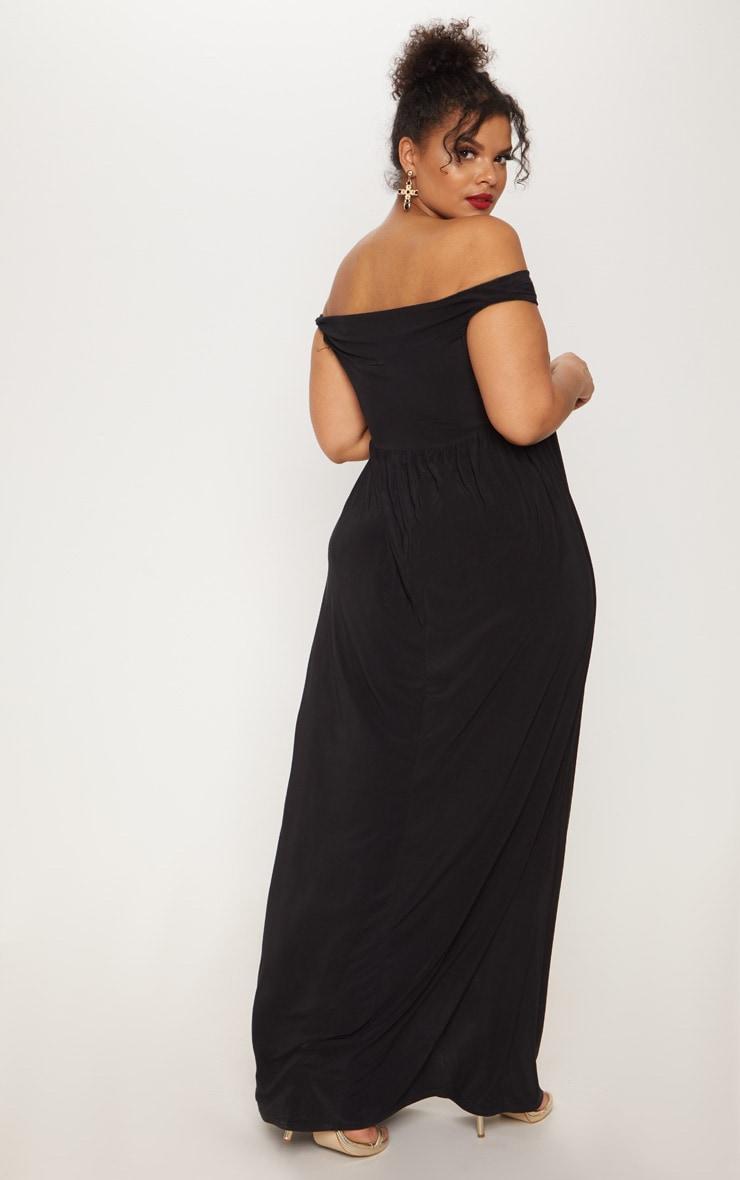 Plus Black Off The Shoulder Slinky Maxi Dress 2