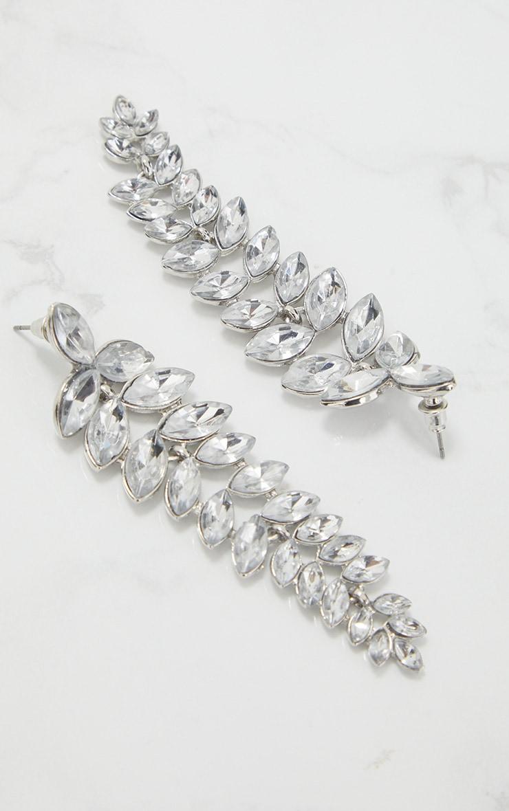 Silver Diamante Stone Cluster Drop Earrings  4