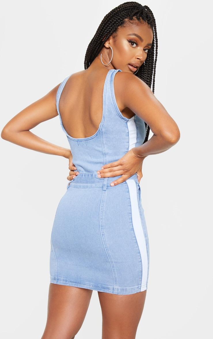 Robe cargo en jean très délavé à coutures, zip et boucle  2