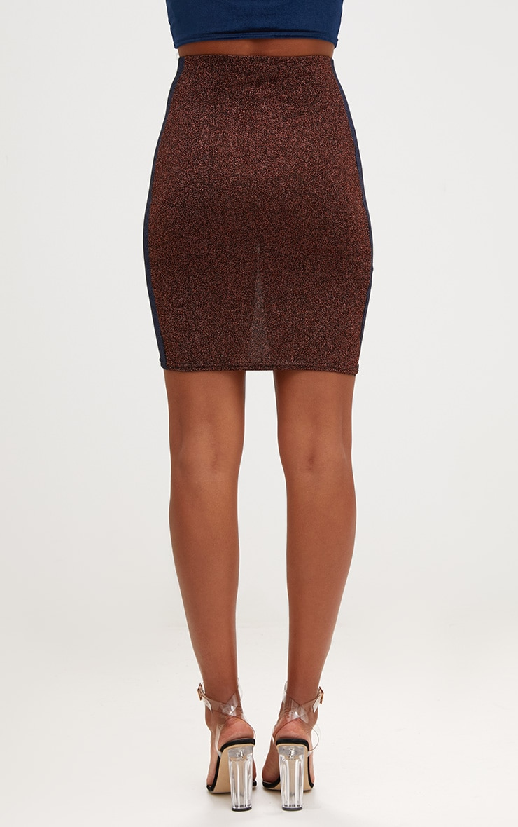 Copper Metallic Contrast Panel High Waisted Mini Skirt 4