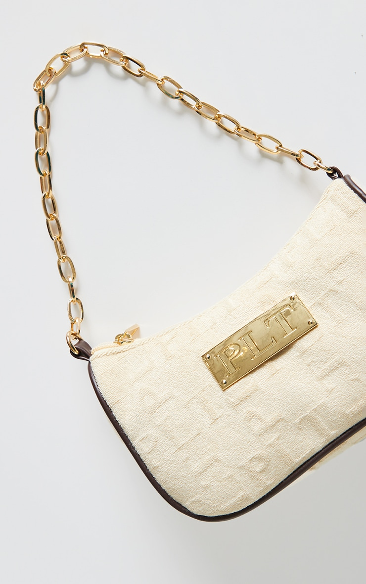 PRETTYLITTLETHING Cream Embossed Gold Chain Shoulder Bag 4
