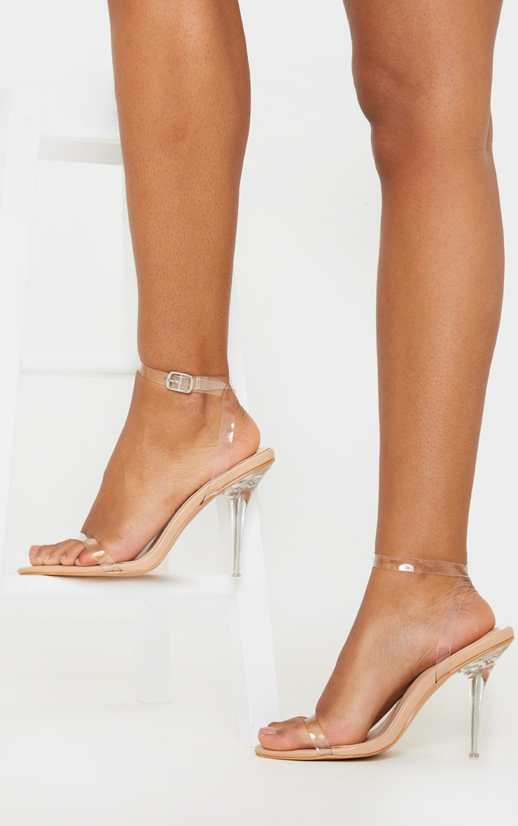Nude Clear Heel Single Strap Sandal 1