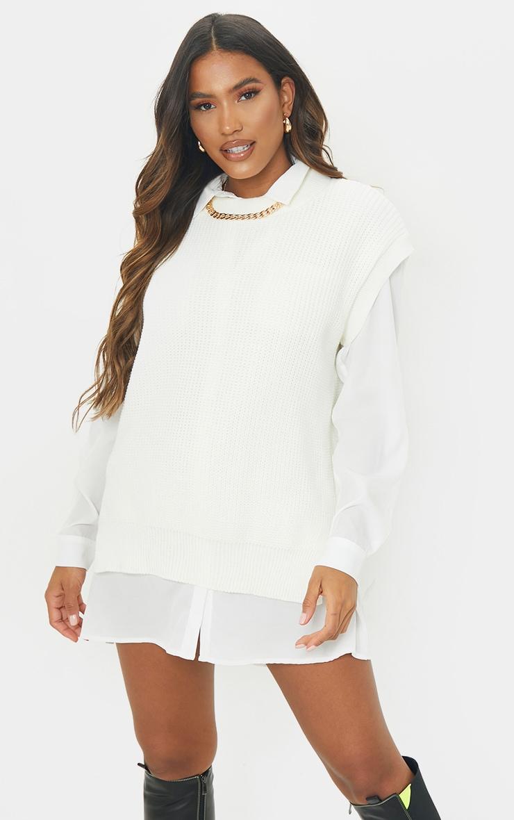 Cream Round Neck Side Split Knitted Vest 1