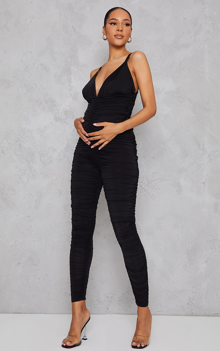 Maternity Black All Over Ruched Jumpsuit 1