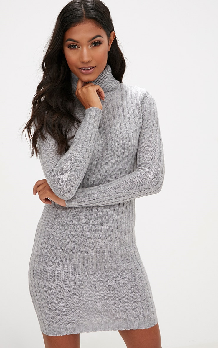 Grey Rib Roll Neck Dress 1