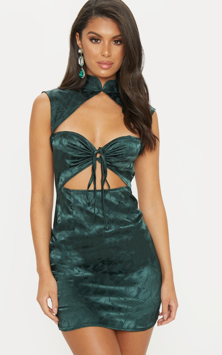Emerald Green Floral Satin High Neck Cut Out Front Shift Dress 4