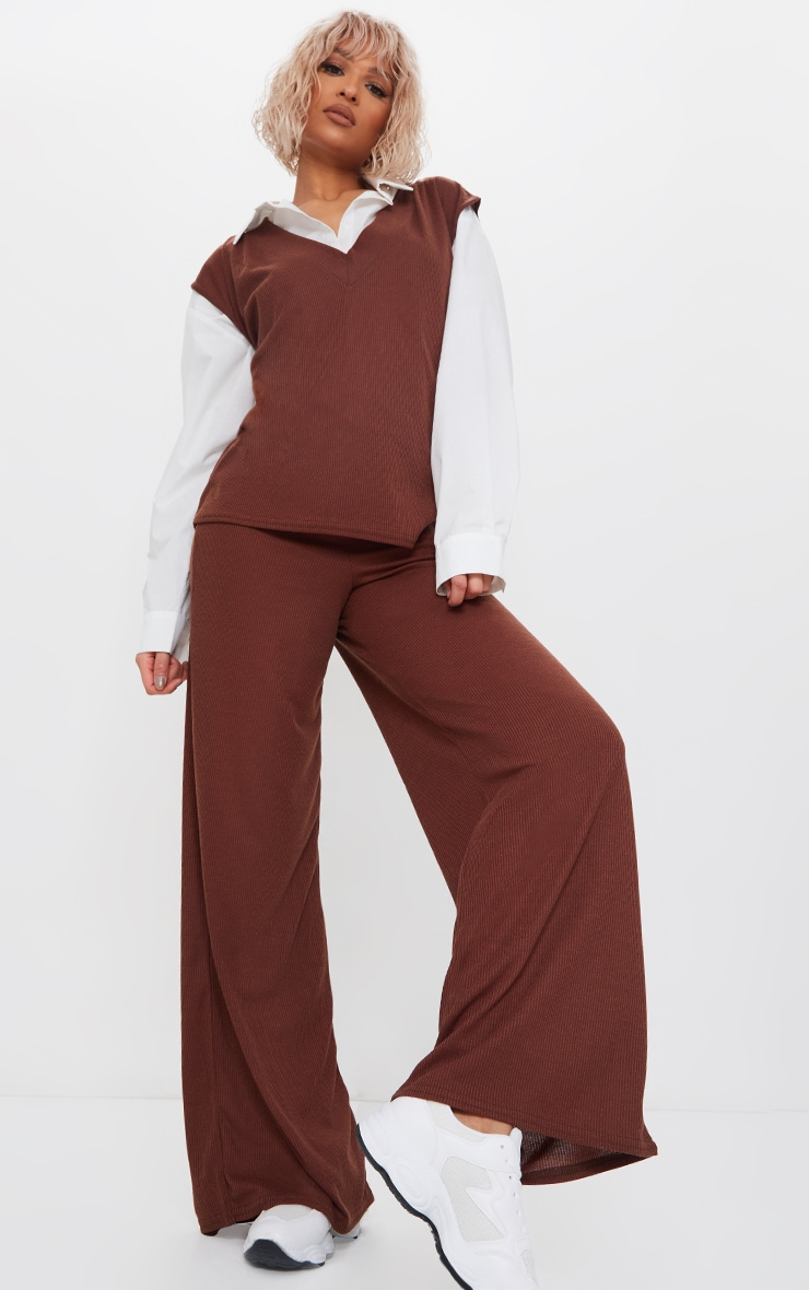 Chocolate Brown Ribbed Wide Leg Trousers 1