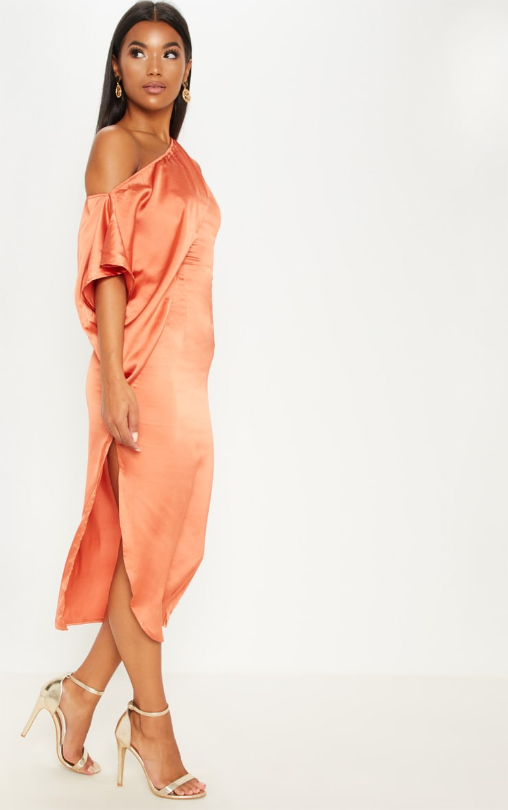 Rust Satin One Shoulder Cape Sleeve Midi Dress 4