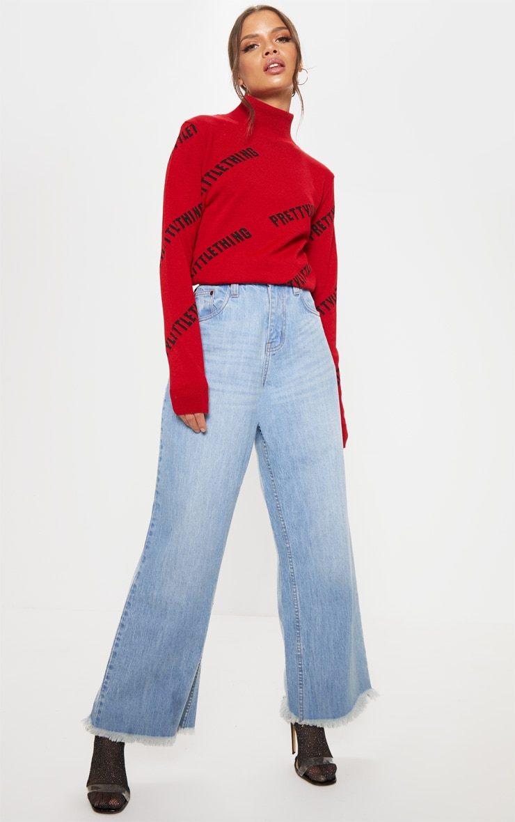 PRETTYLITTLETHING Red Knitted High Neck Jumper 4