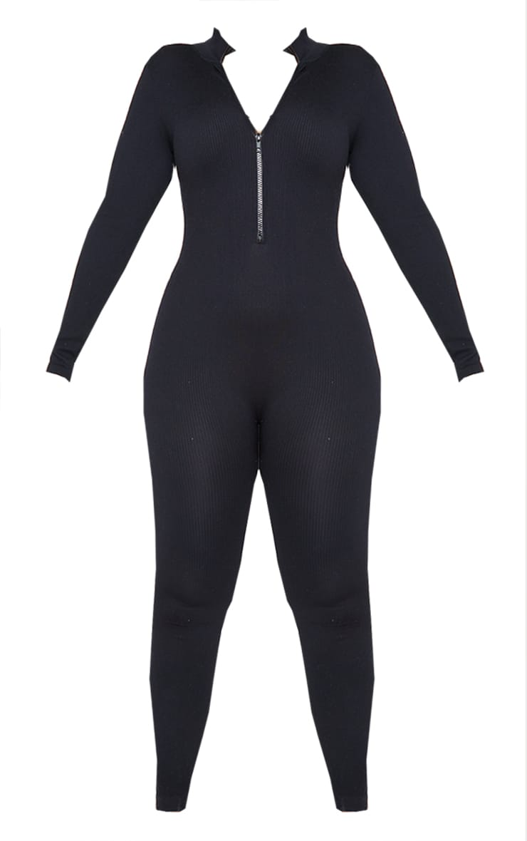 Plus Black Structured Contour Rib High Neck Jumpsuit 5