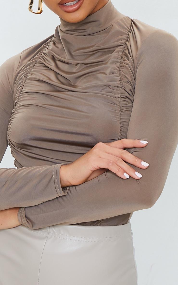 Petite Taupe Jersey Draped High Neck Bodysuit 4