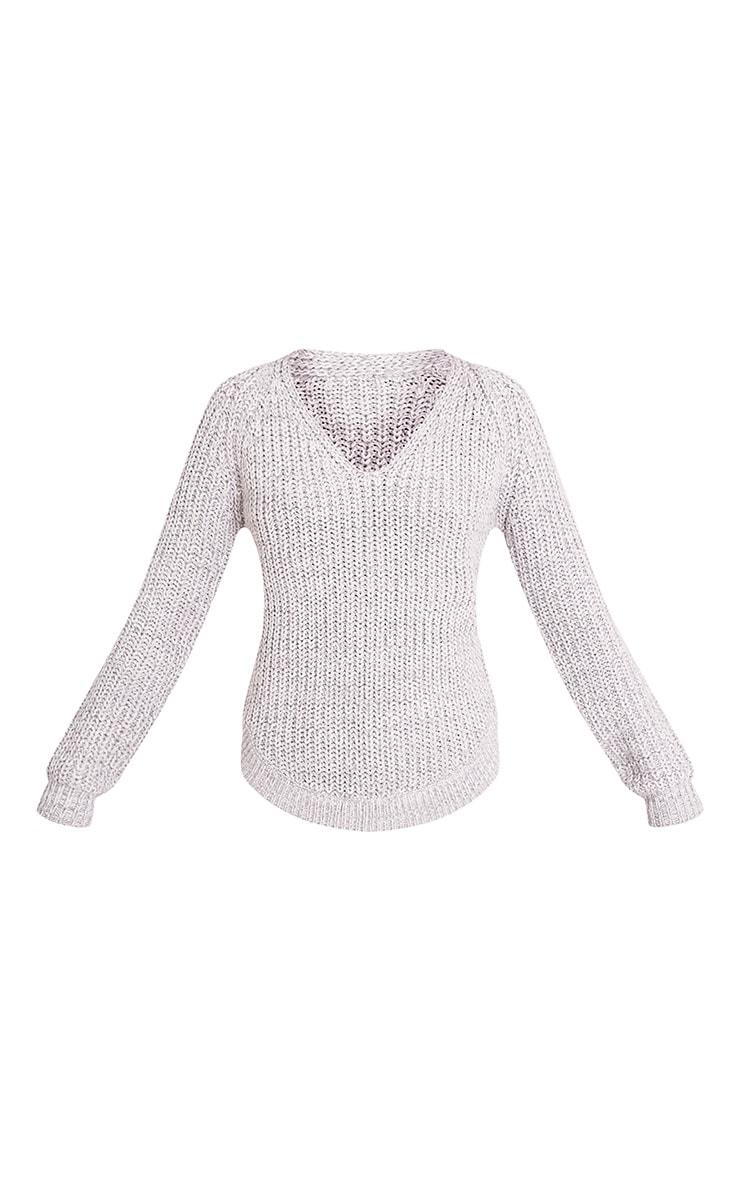 Elania pull en tricot torsadé à col en V gris 3