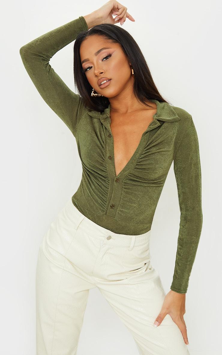 Khaki Rib Ruched Button Front Long Sleeve Bodysuit 1