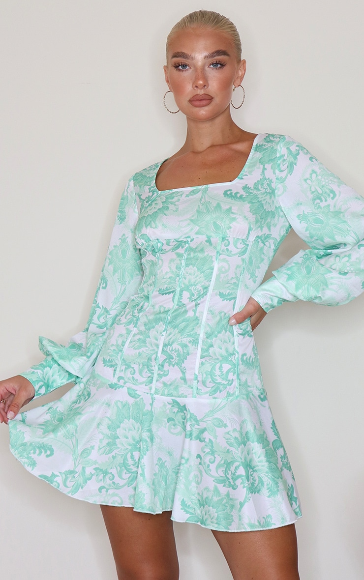 Sage Green Jaquard Print Puff Sleeve Frill Hem Bodycon Dress 4