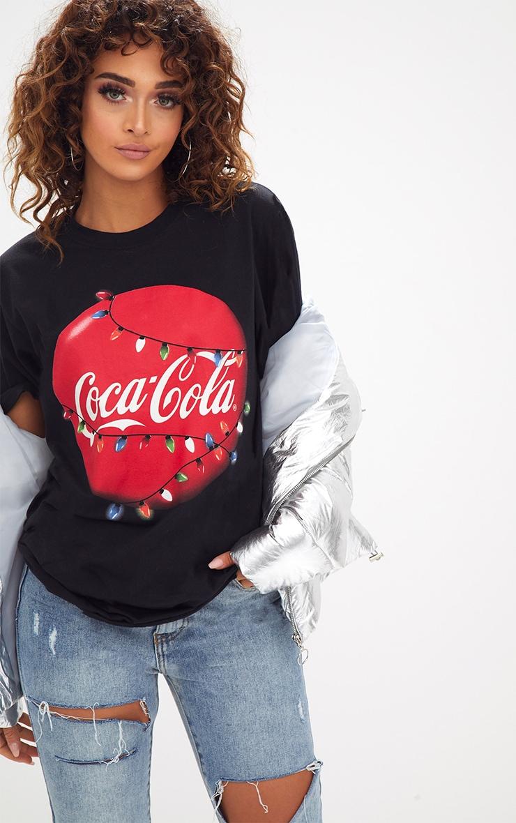 Black Coca Cola License Christmas Slogan T Shirt 1