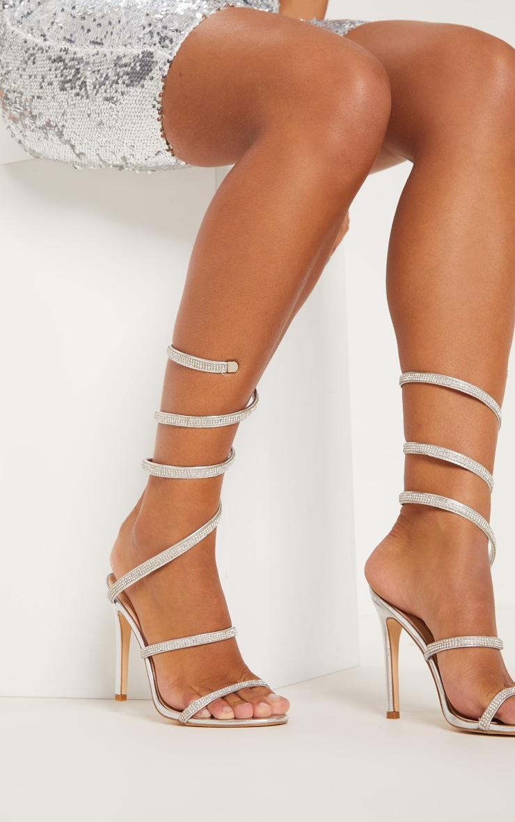 Silver Jewel Diamante Heel 2