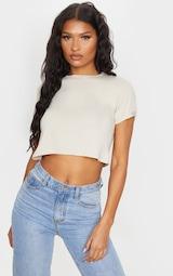 Basic Stone Roll Sleeve Crop T Shirt 1