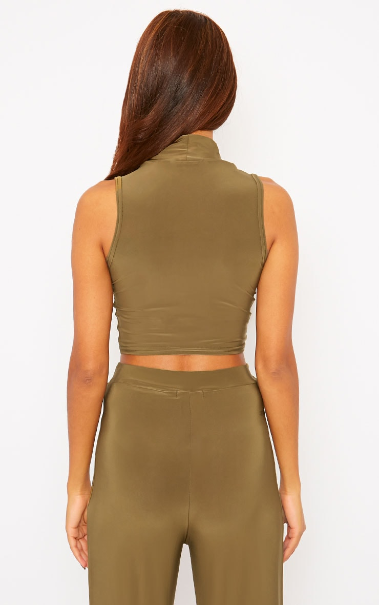 Remi Khaki Soft Touch Crop Top 2