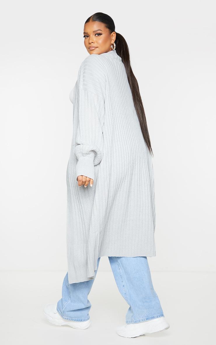 Recycled Plus Grey Ribbed Knit Midi Cardigan 2