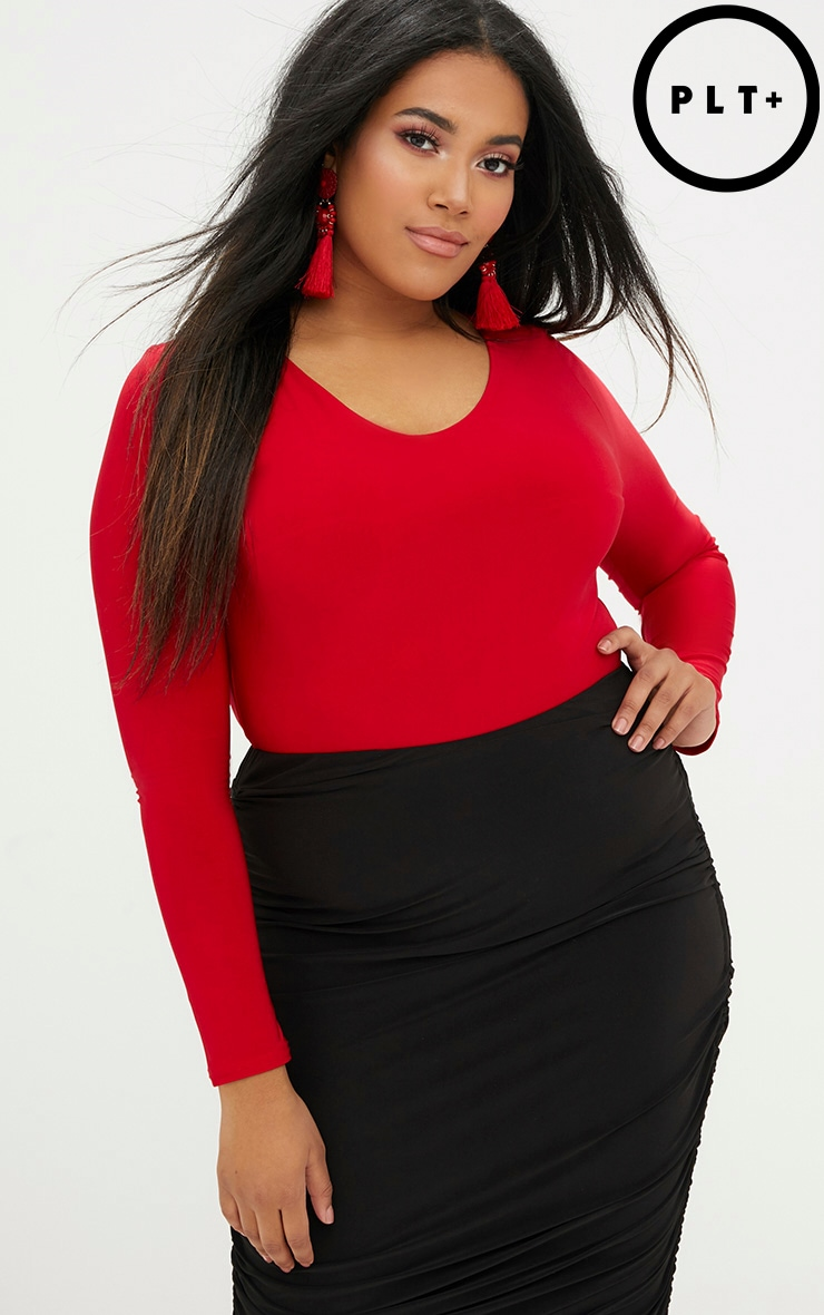 Plus Red Slinky Long Sleeve Bodysuit  1
