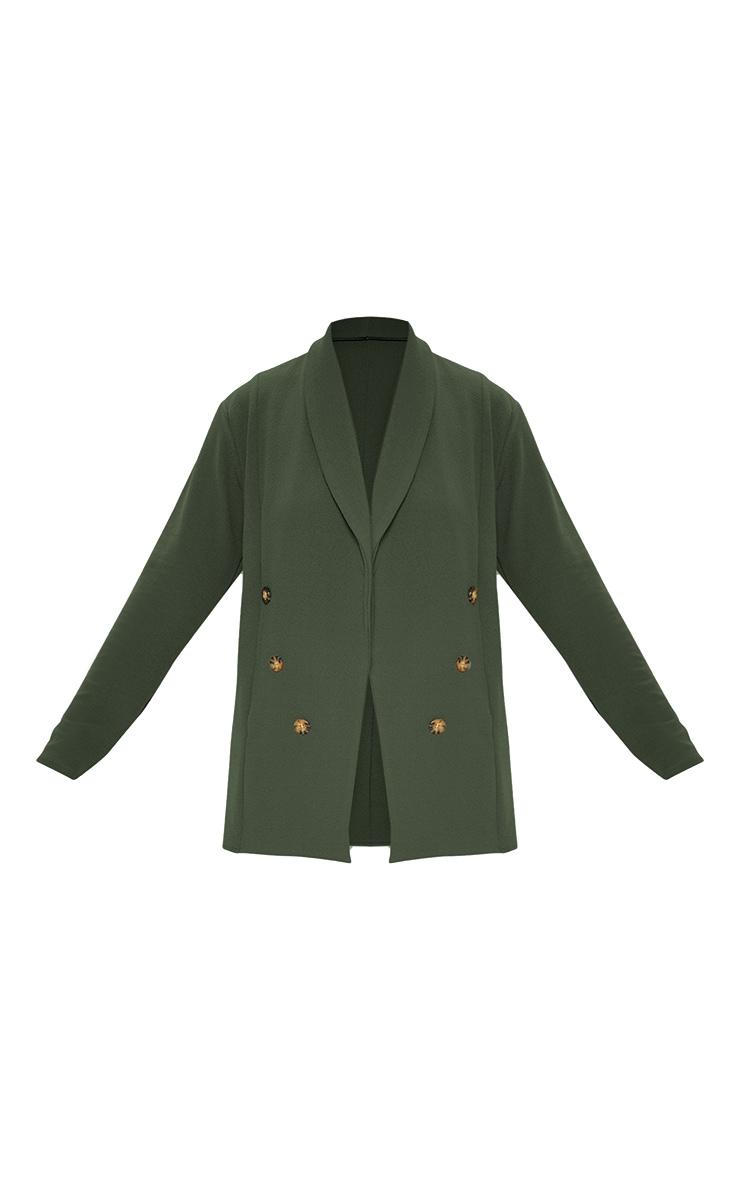 Khaki Oversized Button Detail Blazer  3