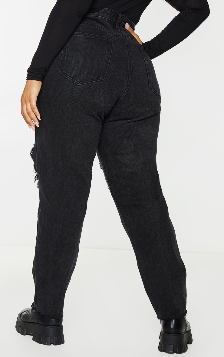 PRETTYLITTLETHING Plus Washed Black Extreme Distressed Slim Fit Jeans 3