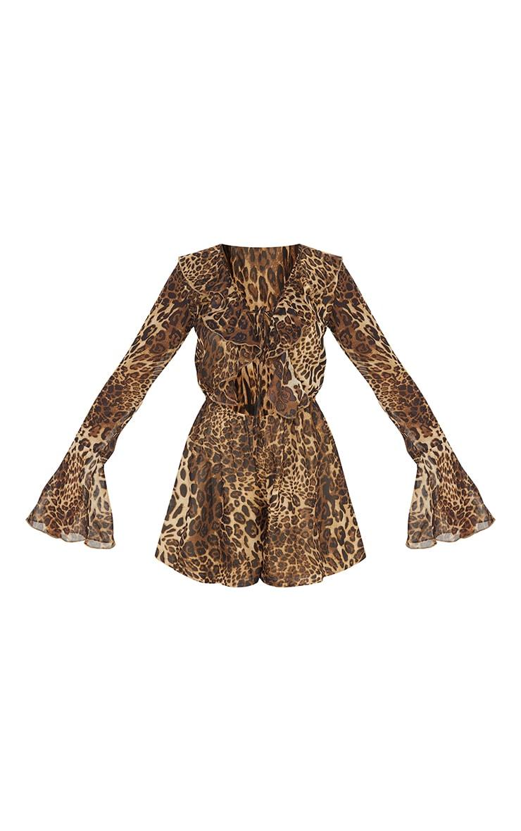 Tan Leopard Print Chiffon Frill Sleeve Romper 5