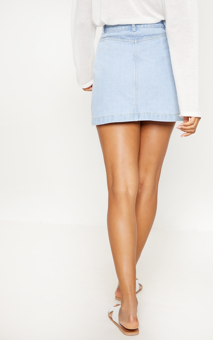 Light Wash Front Zip Denim Skirt  4