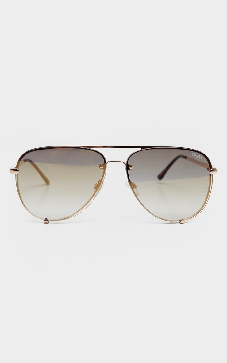 QUAY AUSTRALIA Gold High Key Rimless Sunglasses 2