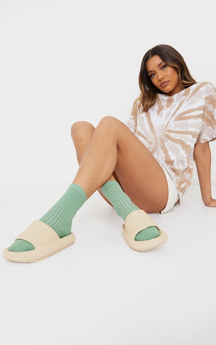 Sage Green Ribbed Ankle Socks 1