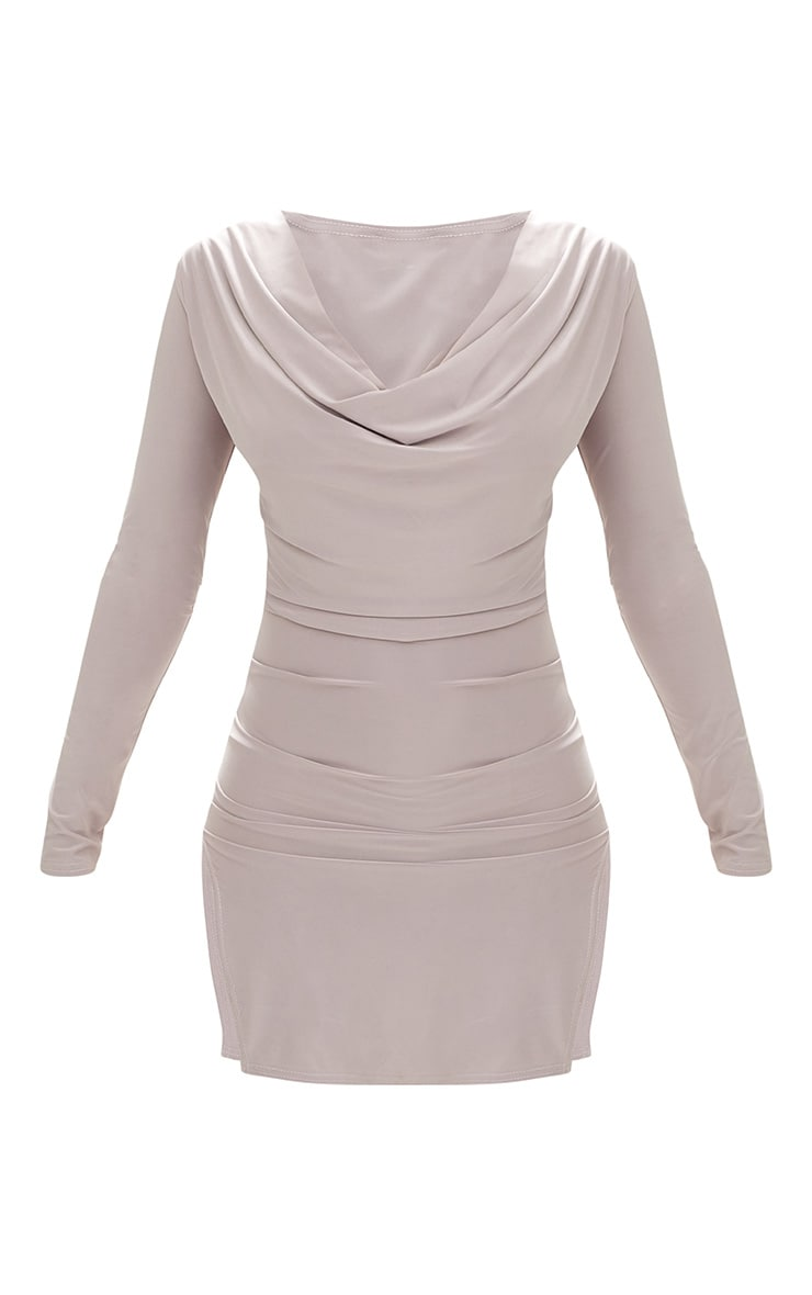 Ice Grey Cowl Neck Long Sleeve Bodycon Dress 3
