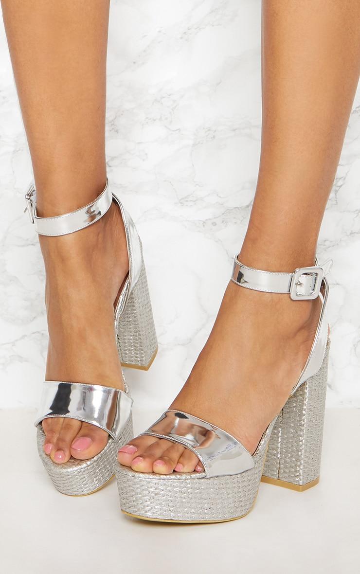 Silver Double Platform Espadrille Sandal 2