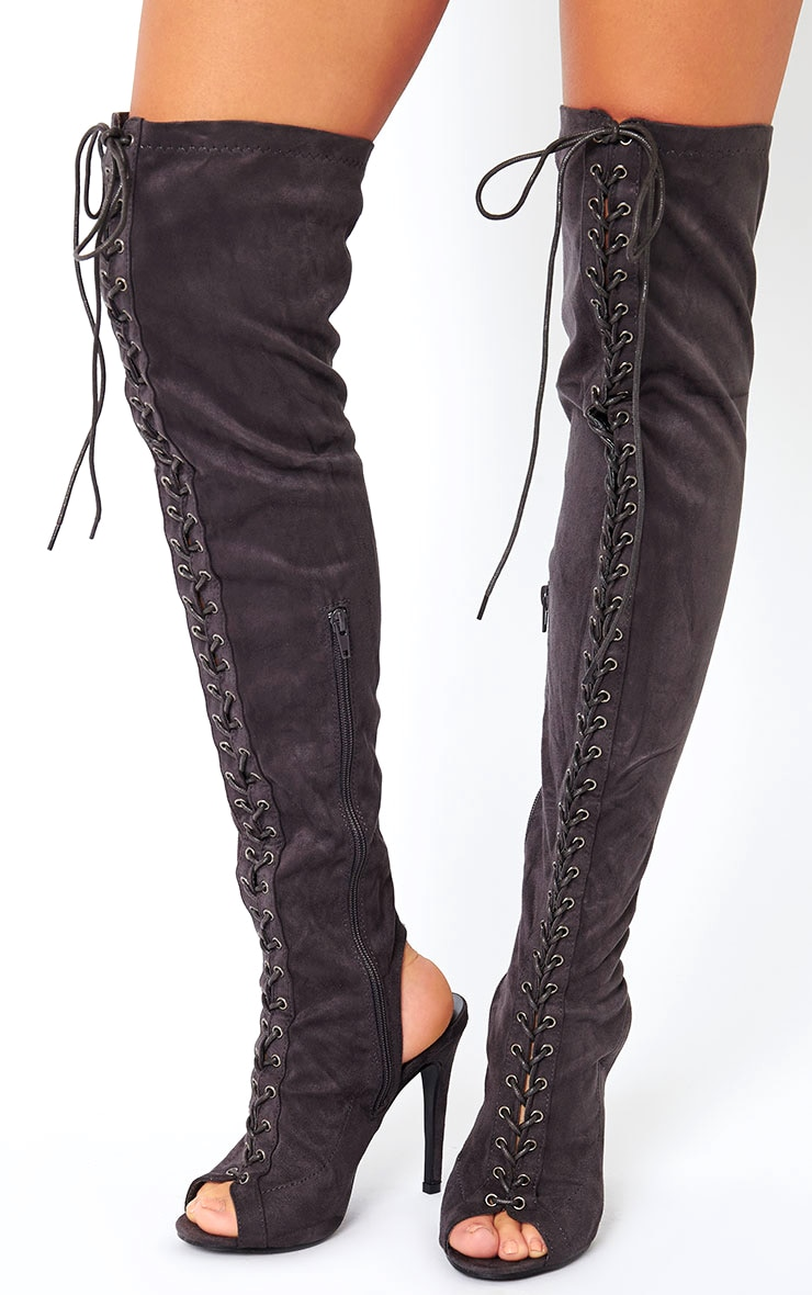 Valentina Grey Suede Lace Up Thigh Boots 1
