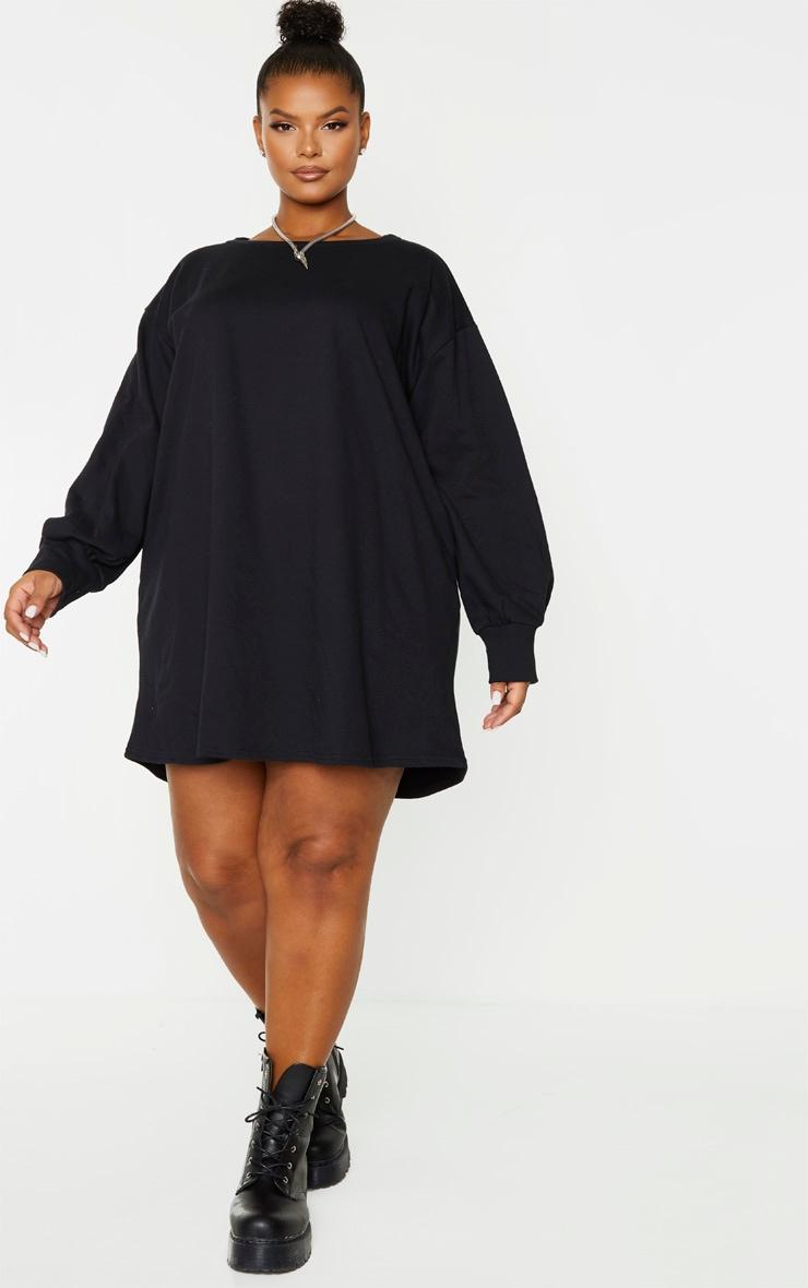Plus Black Oversized Sweatshirt Dress 4