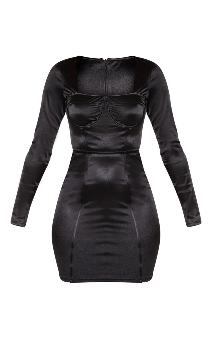 Black Satin Cup Detail Bodycon Dress 3