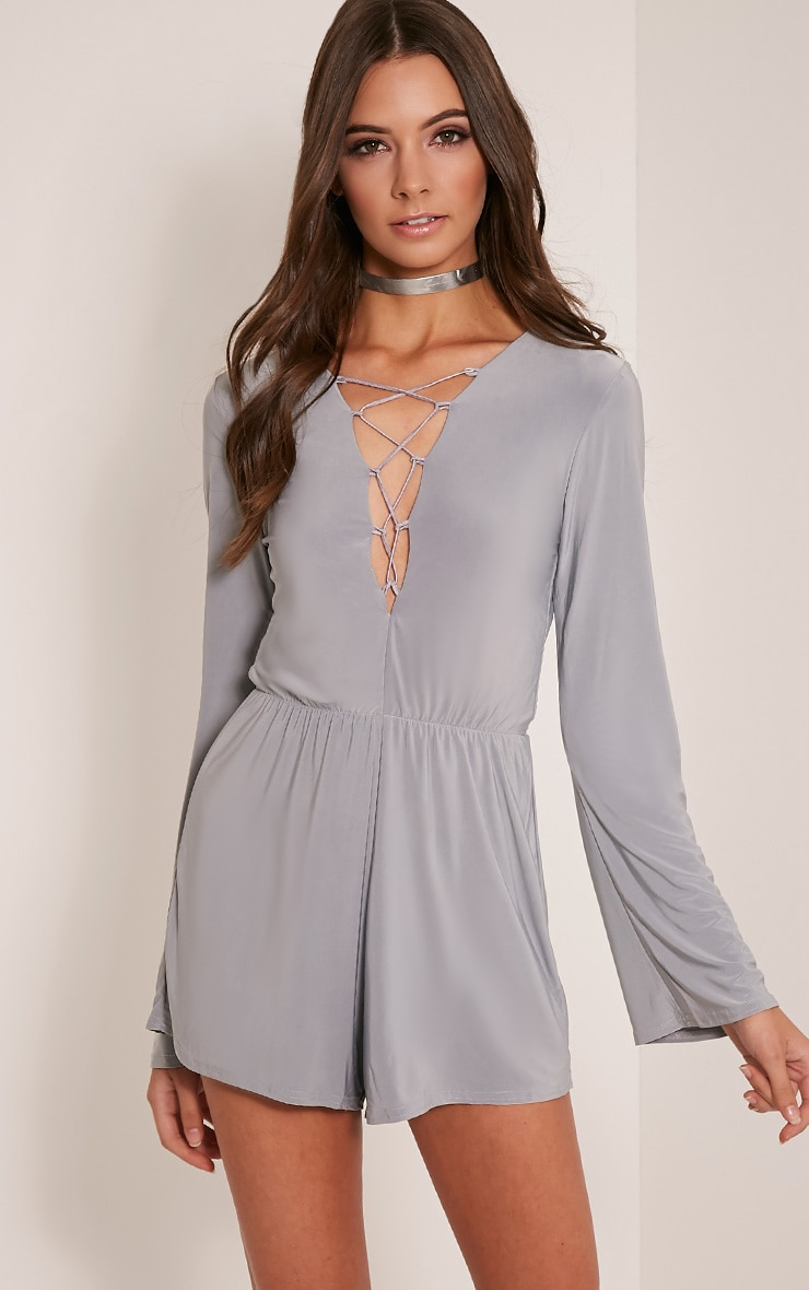 Talma Grey Lace Up Slinky Playsuit 1